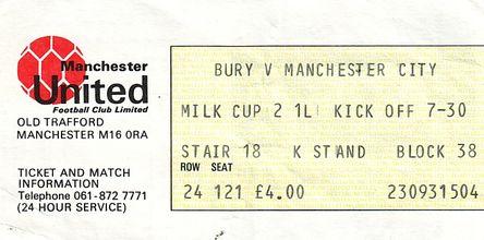 bury away milk cup 1985 to 86 ticket