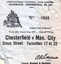 chesterfield away 1977 to 78 ticket
