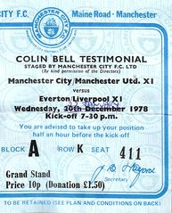 colin bell teastimonial 1978 to 79 ticket