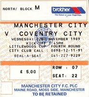 coventry home league cup 1989 to 90 ticket