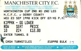 derby worthington cup home 1998 to 99 ticket
