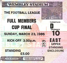 full members cup final 1985 to 86 ticket