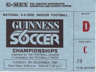 guinness soccer 6 1987 to 88 ticket