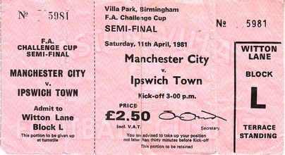 ipswich fa cup semi 1980 to 81 ticket