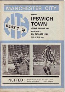 ipswich home 1970-71 programme