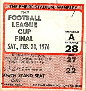league cup final 1975 to 76 ticket