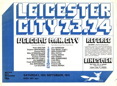 leicester away 1973 to 74 proga