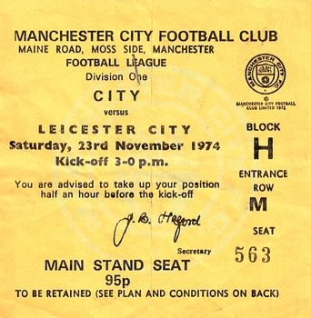 leicester home 1974 to 75 ticket
