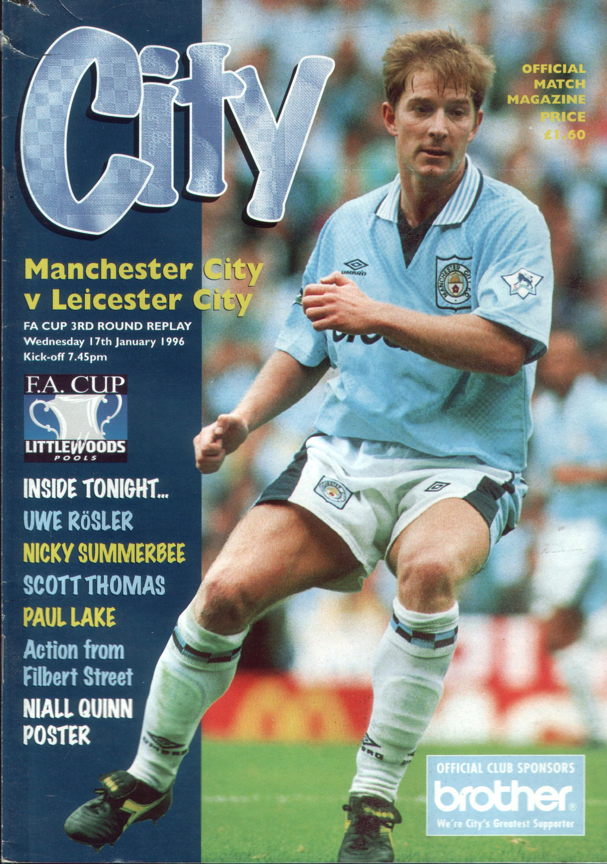 leicester home fa cup 1995 to 96 prog
