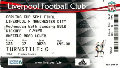liverpool carling cup away 2011 to 12 ticket