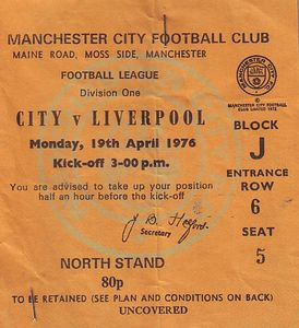 liverpool home 1975 to 76 ticket