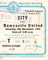 NEWCASTLE home 1976 to 77 ticket