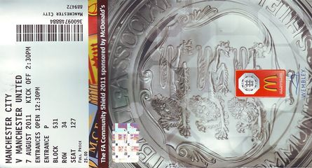 man united charity shield 2011 to 2012 ticket