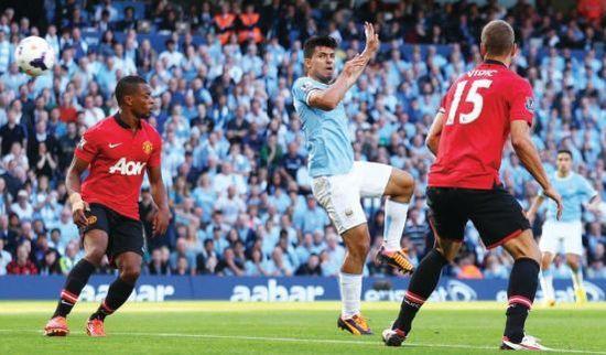 man united home 2013 to 14 aguero goal