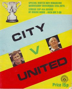 man utd home league cup 1975 to 76 prog