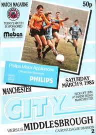 middlesbrough home 1984 to 85 prog