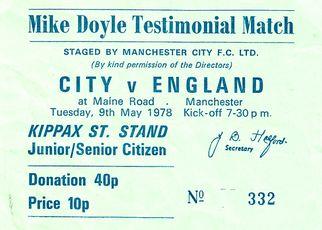 mike doyle testimonial 1977 to 78 ticket