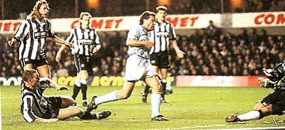 newcastle cola cup away 1994 to 95 rosler goal