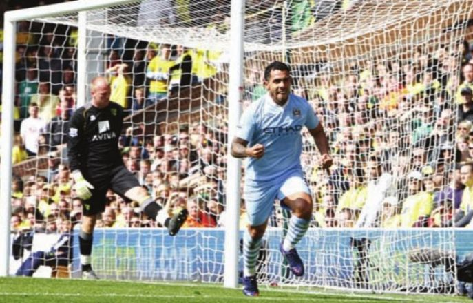 norwich away 2011 to 12 tevez 3rd goal