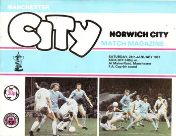 norwich home fa cup 1980 to 81 prog