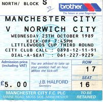 norwich league cup 1989 to 90 ticket