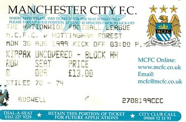 notts forest home 1999 to 00 ticket