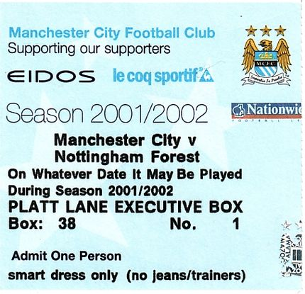 notts forest home 2001 to 02 ticket
