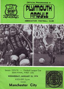 plymouth away league cup 1973 to 74 prog