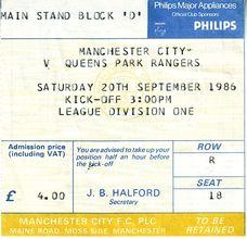 qpr home 1986 to 87 Ticket