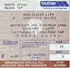 sheff utd home littlewoods cup 1988 to 89 ticket