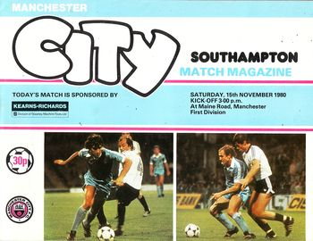 southampton home 1980 to 81 prog