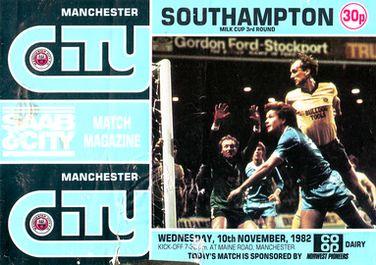 southampton home milk cup 1982 to 83 prog