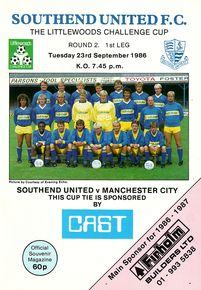 southend away league cup 1986 to 87 prog