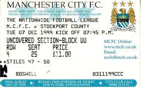 stockport home 1999 to 00 ticket