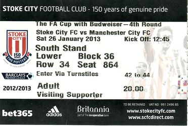 stoke away fa cup 2012 to 13 ticket