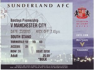 sunderland away 2005 to 06 ticket