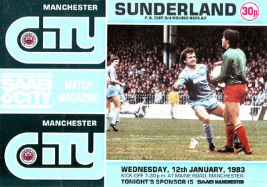 sunderland home fa cup 1982 to 83 prog