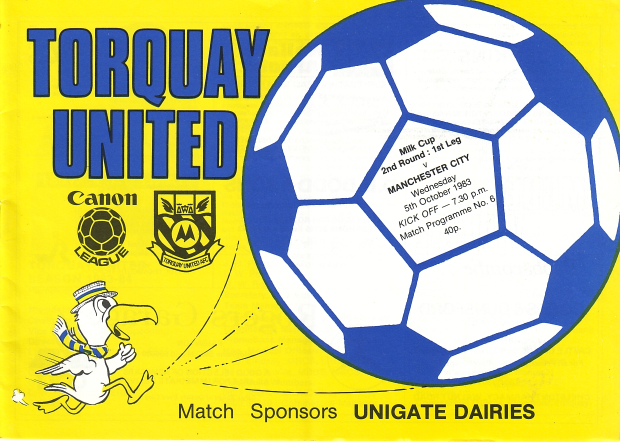 Torquay away 1983 to 84 prog