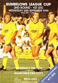 torquay away 1990 to 91 prog