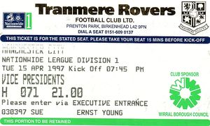 tranmere away 1996 to 97 ticket