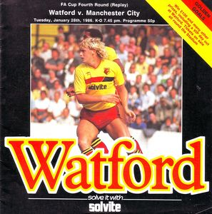 watford away 1985 to 86 fa cup replay prog
