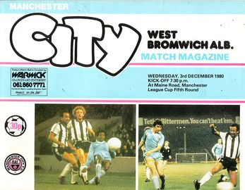 west brom home league cup 1980 to 81 prog