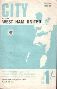 whu home 1967-68 programme