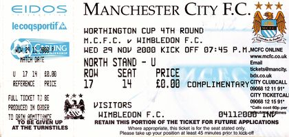 wimbledon home 2000-01 worthy cup ticket