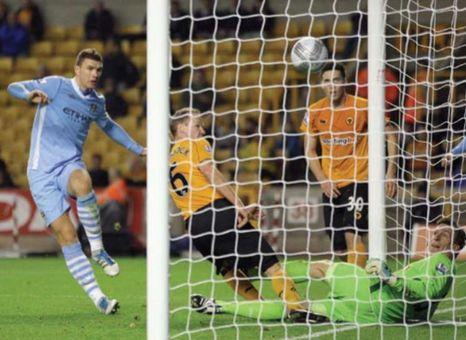 wolves away league cup 2011 to 12 dzeko goal 3-1l