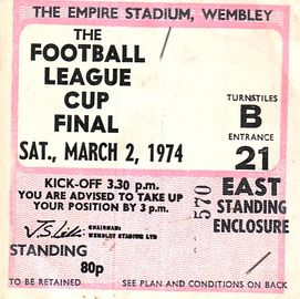 wolves league cup final 1973 to 74 ticket